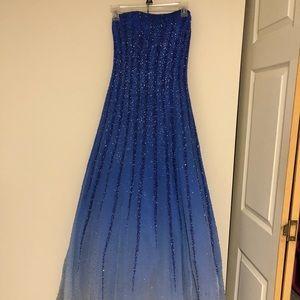 Blue ombré prom dress